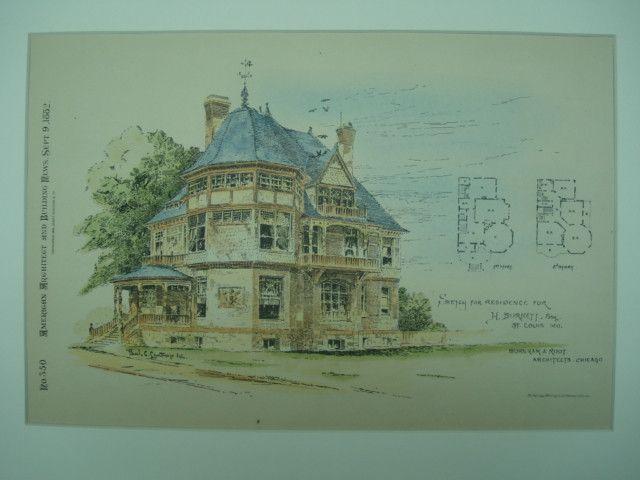 Residence for H. Burnett , St. Louis, MO, 1882, Burnham & Root