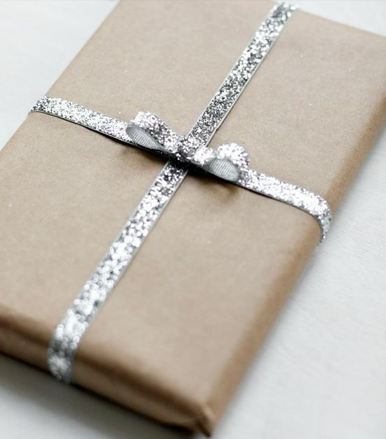 wrapping: Silver Glitter, Kraft Paper, Ribbons, Gifts Wraps, Diy Gifts, Handmade Gifts, Wraps Gifts, Brown Paper Packaging, Simple Gifts