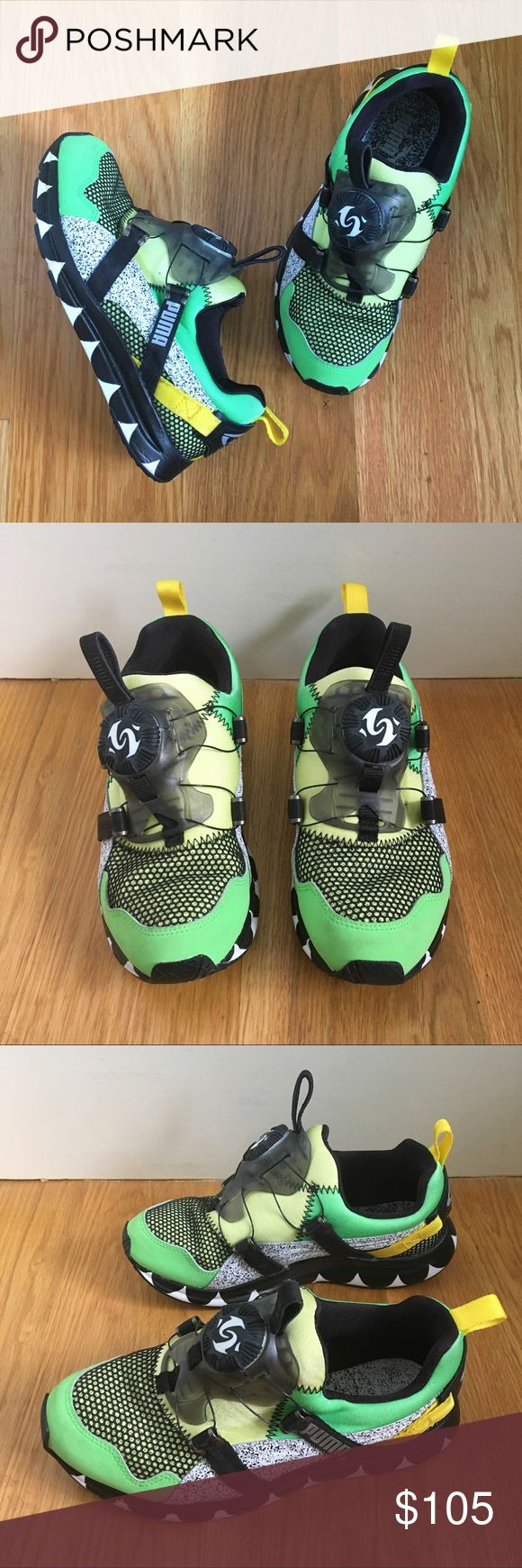 Limited Edition Puma Disc System Sneakers - Limited edition Puma disc system sneakers - Green & yellow with black and white speckled design on sides - Sold out everywhere - Never worn, in perfect condition Puma Shoes Sneakers
