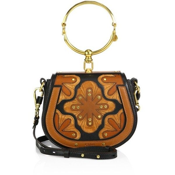 Chlo Small Nile Flower Leather Bracelet Saddle Bag ($2,190) ❤ liked on Polyvore featuring bags, handbags, shoulder bags, gold, brown leather shoulder bag, genuine leather shoulder bag, brown purse, saddle bags and brown handbags