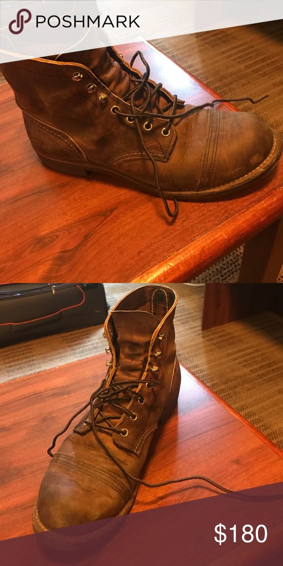 Redwing shoes Heritage boot. Size 9 1/2 sizes These are the classic heritage retails for 350. I've had these for 2 months and turned out to be great boots but I normally wear a 10 1/2 the sales rep convinced me that they have to fit nice and snug because they will stretch out. 2 months later shoes still fit to tight on me wanted to buy insoles but I simply don't have room for it. Shoes are already broken in as you can see.. plenty of sole left on these boots. red wing shoes  Shoes Lace Up…