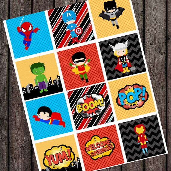 INSTANT DOWNLOAD Super hero cupcake toppers by AmysSimpleDesigns