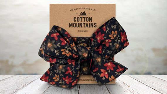 """Handmade Headband """"Secret Garden"""" - 100% Cotton Fabric Hairband - Made in Italy - Navy Floral pattern - Cotton Mountains accessories"""