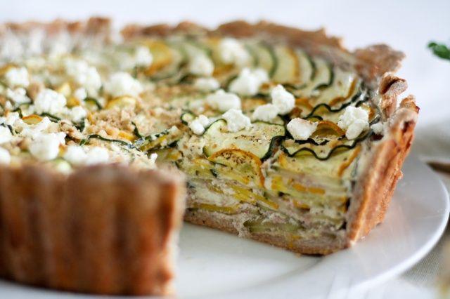 Yellow and Green Cheesy Zucchini Tart