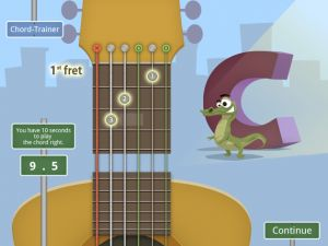 An app to teach kids how to play the guitar.