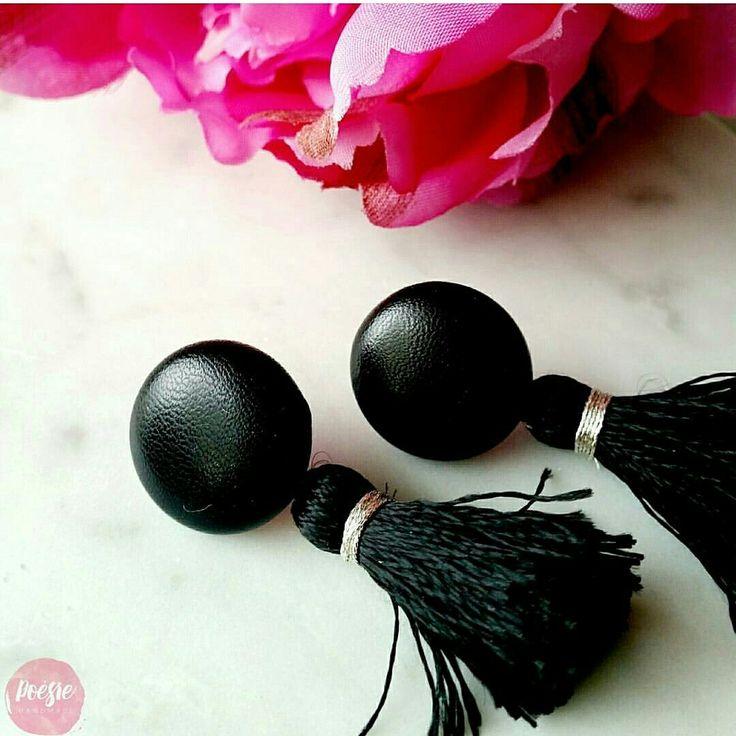 BLACK FAUX LEATHER TASSEL EARRINGS • Handmade Original Design Fabric Button Jewellery • Available from www.poesiehandmade.com