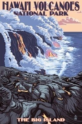 The Big Island, Hawaii - Lava Flow Scene - Lantern Press Poster