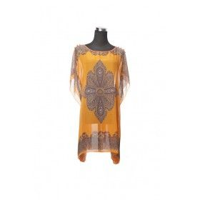 Silk Kaftan Top - Orange