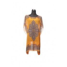 Silk Kaftan Top - Orange