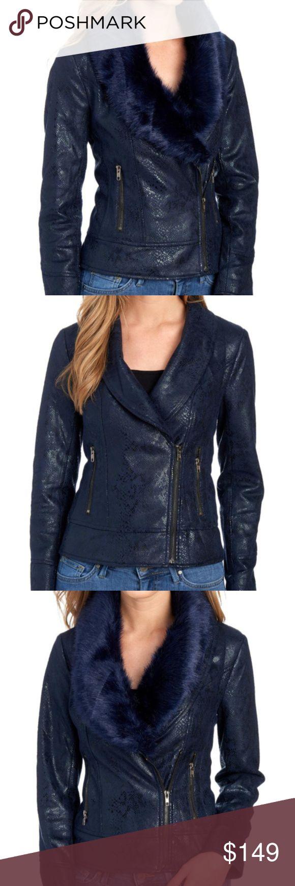 Navy Blue Vegan Snake Motor Jacket Fur Collar Fur jacket
