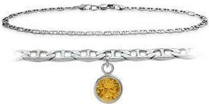 14K White Gold 9 Inch Mariner Anklet with Genuine Citrine Round Charm Elite Jewels. $219.50. Save 35% Off!