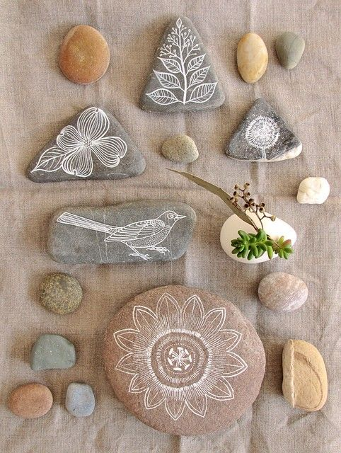 Love this idea of simple paintings on flat rocks.  Could be use as placeholders, paperweights, or collage, as shown.  It's a someday project, for sure