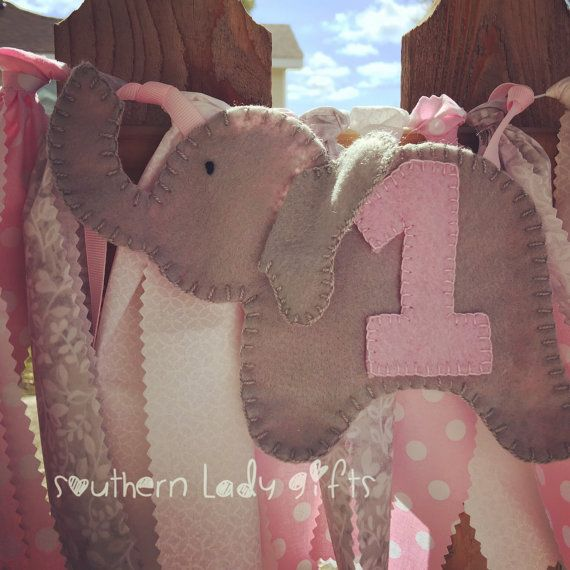 Elephant first birthday high chair rag banner by southernladygifts