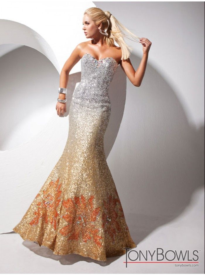 Tony Bowls Paris 113701 Ombre sequin prom dress, evening dress, Size 10