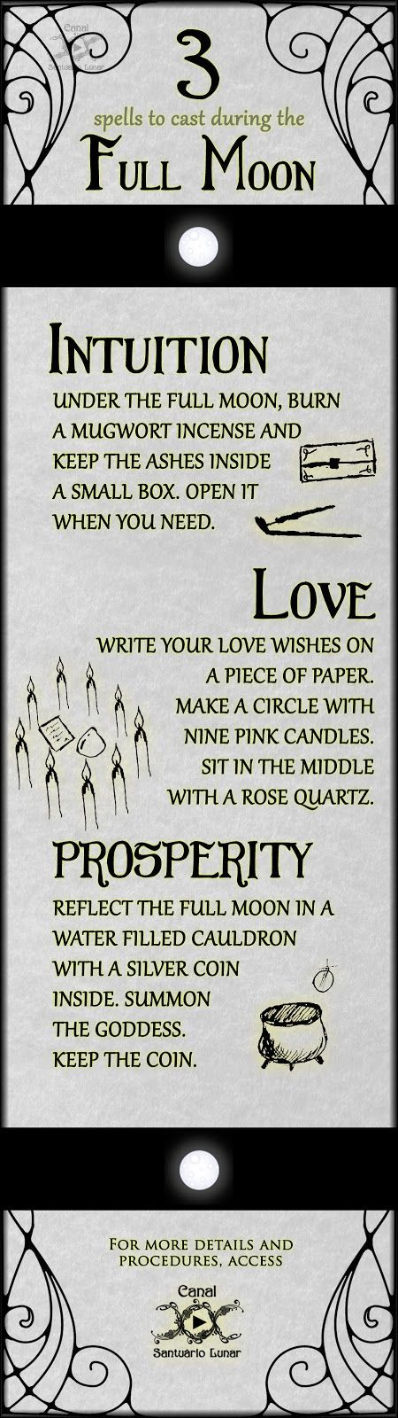 ☽✪☾...Wiccan Full Moon Spells. One for improving your Intuition; one for attracting Love and another for sustaining prosperity!