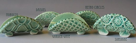 READY TO SHIP Business Card Holder - Office Decor - Desk - Office Gift - Co worker gift - Aqua Garden Gate pattern