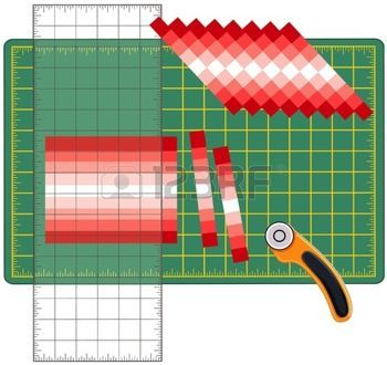 Patchwork: how to do it yourself.  Cut strips of fabric sewn, reorganize into patterns and designs with transparent ruler, rotary blade cutter on cutting mat, for arts, crafts, sewing, quilting, applique, DIY projects.  photo