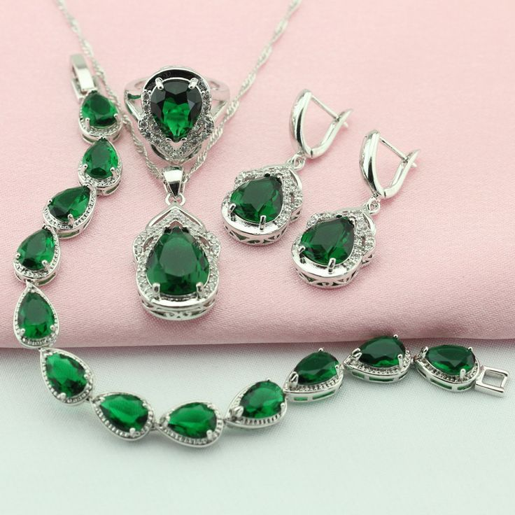 ASHLEY Green Stone Silver Plated Jewelry Sets For Women Bridal Jewelry Sets Necklace Pendant Earrings Bracelet Ring Free Box