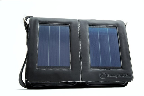 SunnyBAG Business Access Black leather solar power messenger bag that charges your mobile devices while you go!