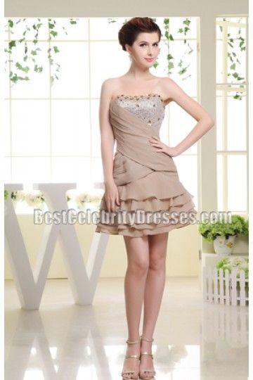 New Style Strapless Beaded Cute Party Dress Homecoming Dresses | BestCelebrityDresses
