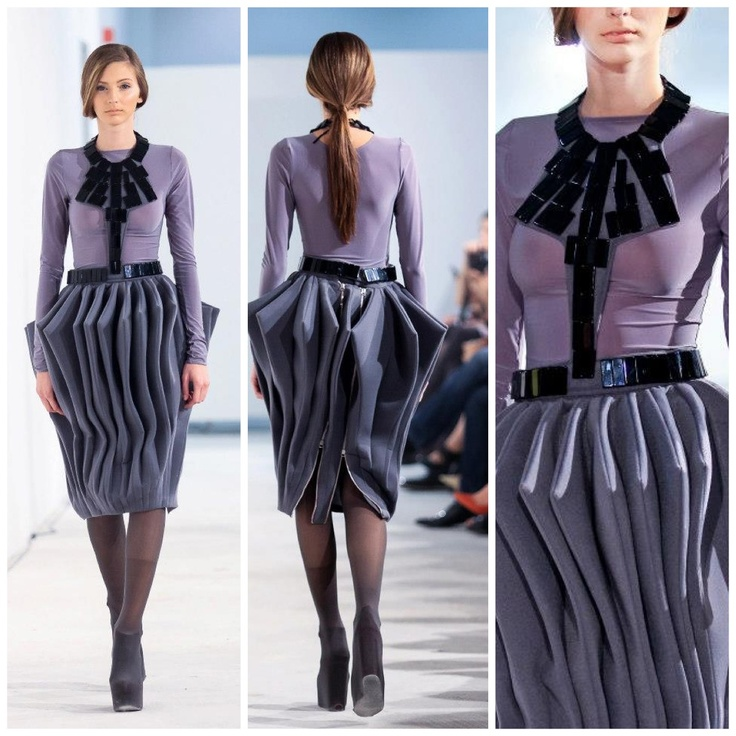 Grey pleated structural skirt @FE[MALE]