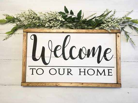 Welcome Sign Welcome To Our Home Sign Reclaimed Wood Sign Black And White Welcome Sign Rustic We Wood Signs Reclaimed Wood Signs Home Signs
