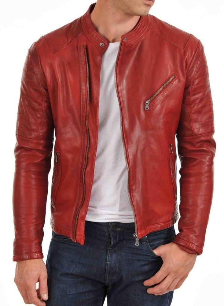 Men's Genuine Lambskin Leather Jacket Red Slim fit Motorcycle jacket stylish 5…