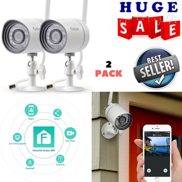 Wireless Outdoor Security Camera System 720p Video Home Night Vision +App - 2pcs #Funlux