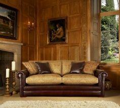 Комбинированный диван из натуральной кожи и ткани Кантербари, Parker Knoll, Англия