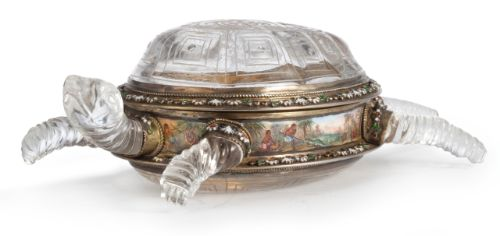 An Austrian silver-gilt, enamel and rock crystal turtle-form box, Hermann Ratzersdorfer, Vienna, circa 1875