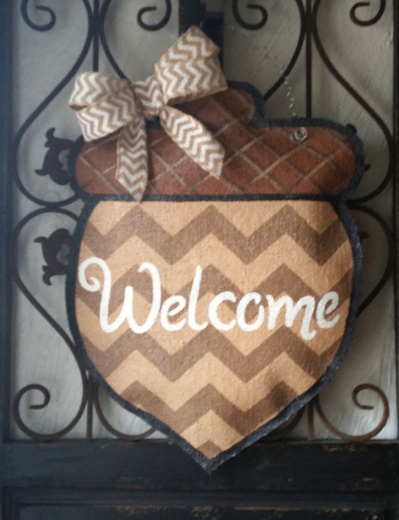 Happy fall y'all acorn door hanger hand by ConnieRisleyCrafts