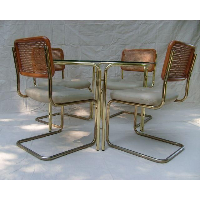 marcel breuer cesca chairs and glasstop dining table