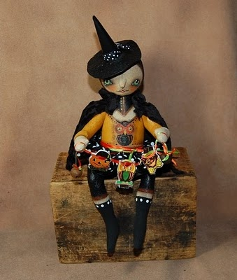 Millie Hoot~ tiny folk art witch doll and her garland of vintage Halloween images