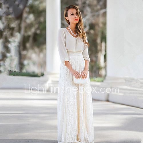 Women's Lace Lace White/Almond Slim Hin Thin Skirts,Lace/Maxi Maxi 2017 - $16.99