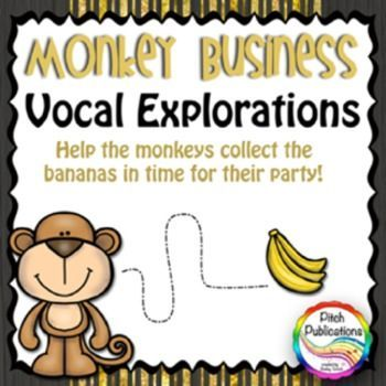These are the most adorable little vocal explorations! Help the monkeys catch the bananas! #elmused elementary music #pitchpublications #kodaly #orff #tptmusictribe