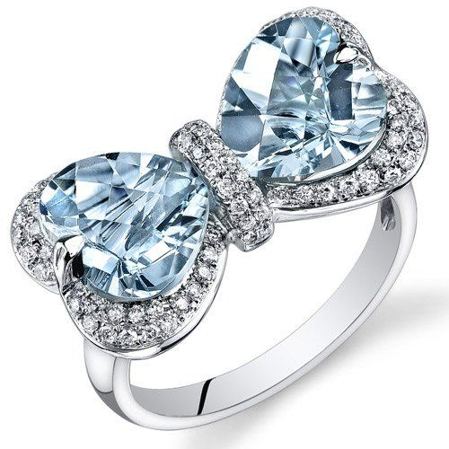 Peora 14K White Gold Heart Aquamarine Diamond Ring ✿⊱╮My birthstone