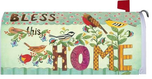 Bless this Home decorative mailbox cover featuring an eclectic collection of birds and bright patterns all put together to create this beautiful design. This inspirational, country design will look gr