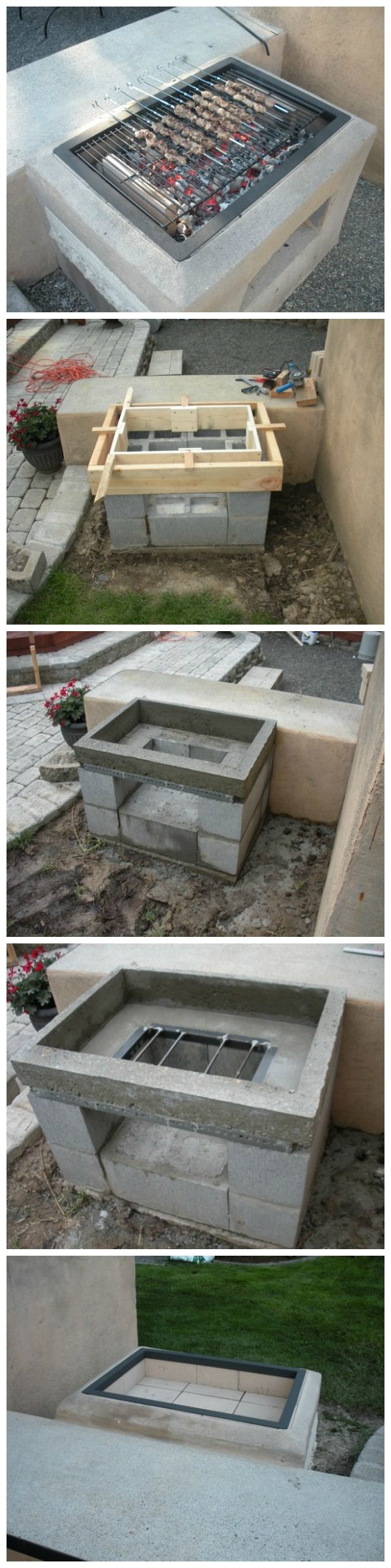 DIY Open Grill - if you use these large blocks then you won't even need cement