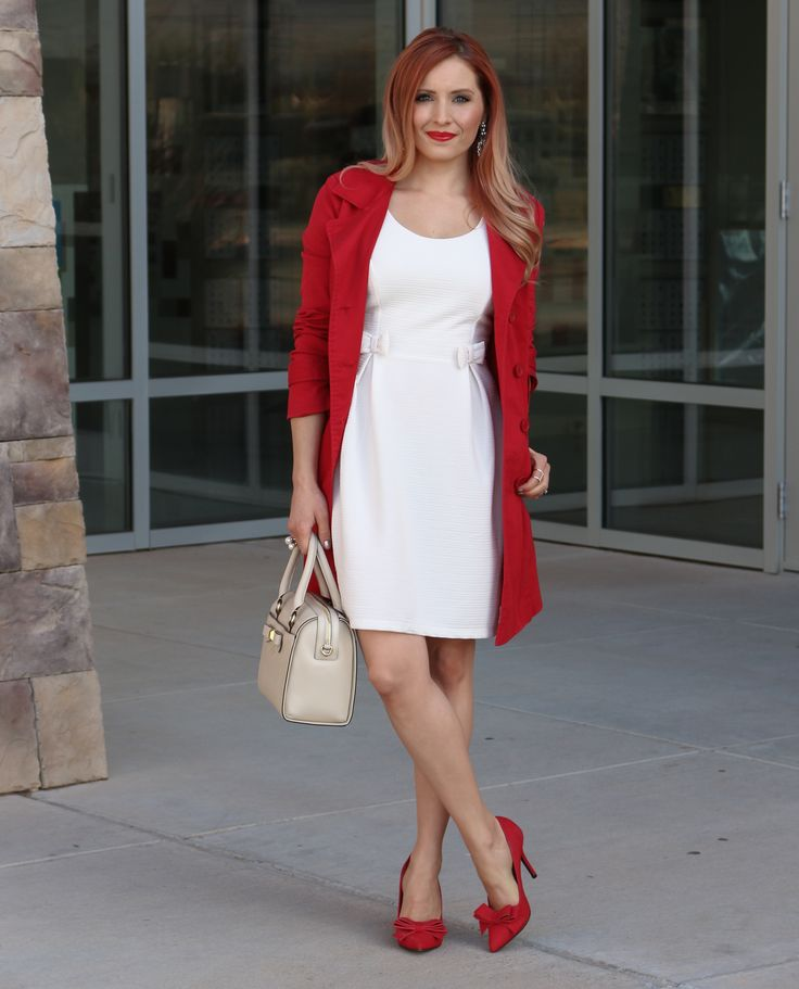 Holiday Party ( LWD ) Little White Dress via @Glamourzine wearing LC Lauren Conrad Bow dress, Guess Jeans Red Trench Coat, Kate Spade Holly Street Ashton Top Handle Bag in Ostrich Egg, JustFab Red Bow Heels, Laura Mercier Lipstick in Red Amour