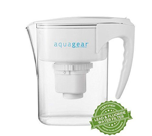 Aquagear Water Filter Pitcher - Removes Fluoride & Lead - 150 Gallon High Capacity Aqua Gear Filter - Clear