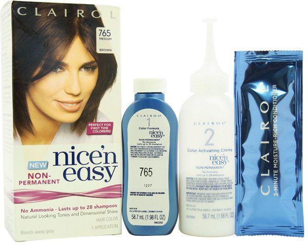 women clairol nice 'n easy non-permanent hair color, 765 medium brown hair color