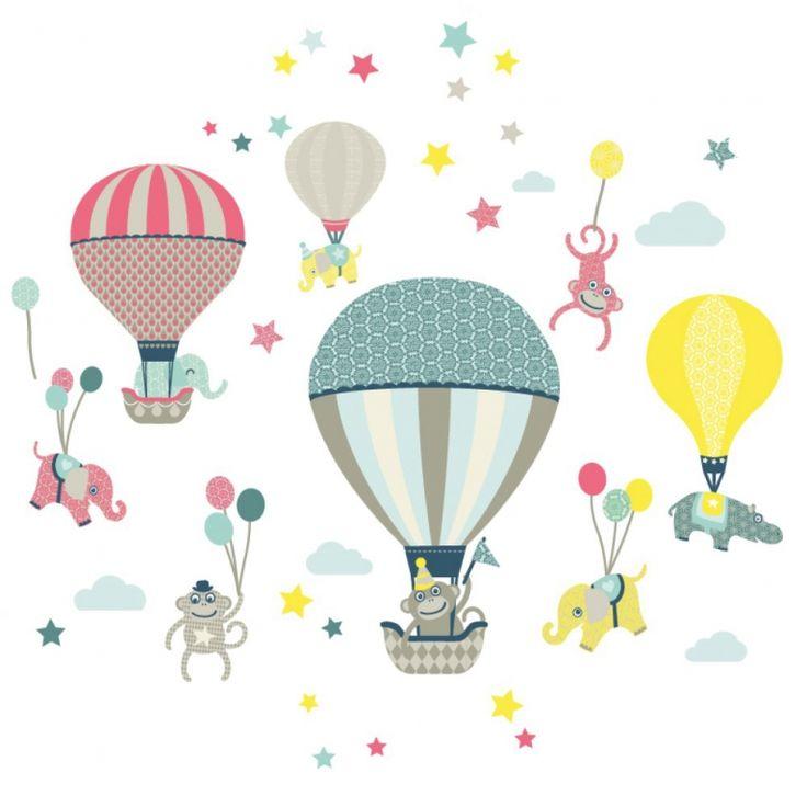 Awesome Kinderzimmer Wandsticker uHei luftballons mit Tieren u