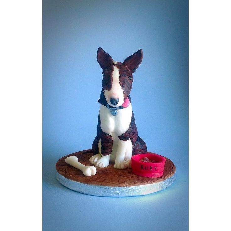 Sugarpaste English Bull Terrier Cake Topper