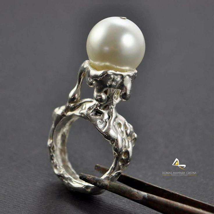 Inel de argint Aqua Pearl