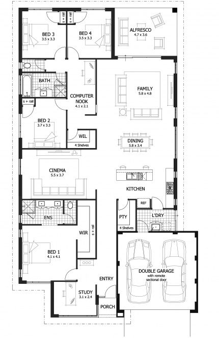 Bardot Floor Plan - 221sqm - Includes a children's computer nook that you can view from the family room.