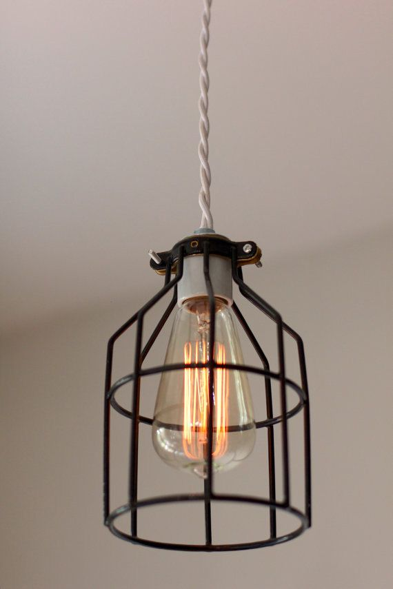 industrial vintage modern cage light fixture pendant