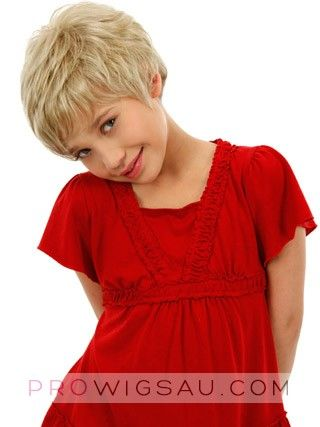 Short Shag style Front Lace Kids Wig, Wigs For Girls | wwi021