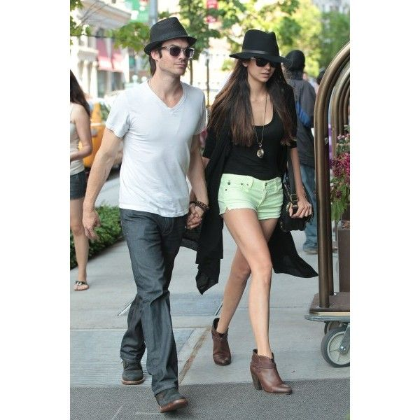 Ian Somerhalder and Nina Dobrev Show Off Their Romance in NYC ❤ liked on Polyvore featuring vampire diaries