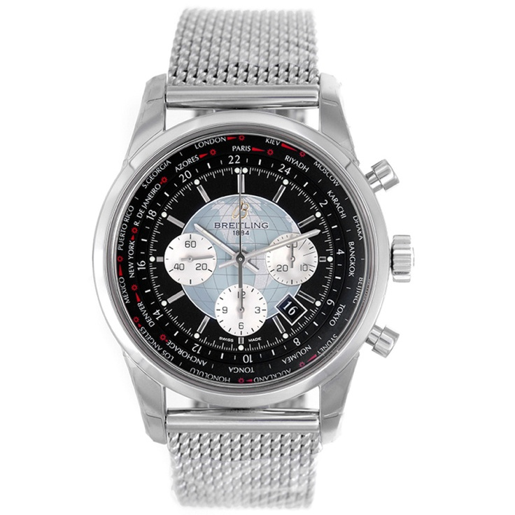 1stdibs | Breitling Stainless Steel Transocean Unitime Chronograph Watch