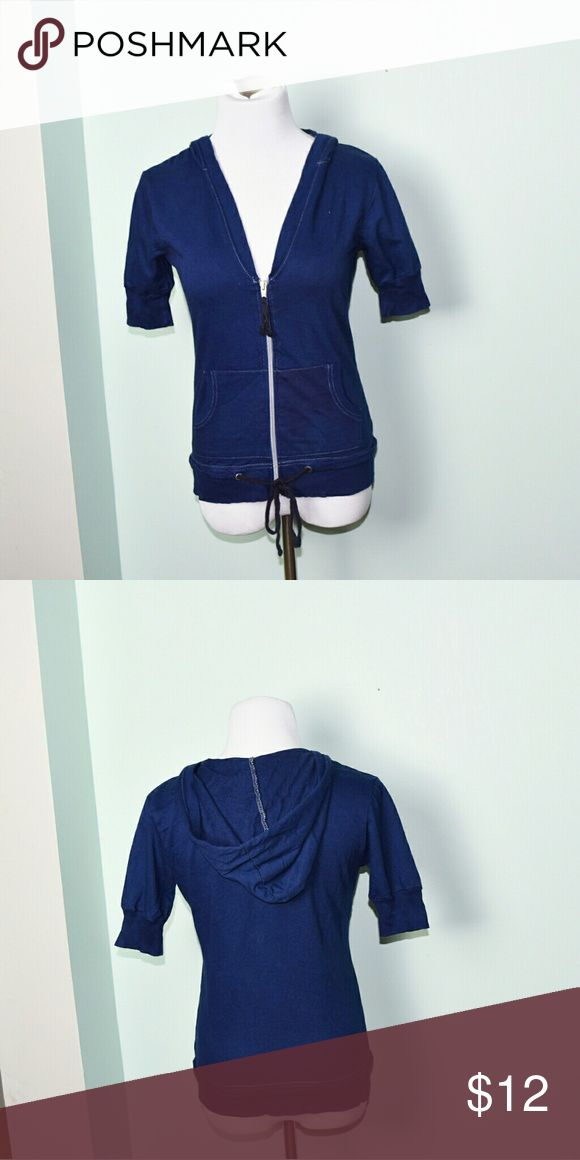 Super Cute Navy Zip Up Sweater In excellent condition! Very comfortable, lightweight, and flattering! Buy 3 items and get 1 free plus 15% off your purchase total! Tops